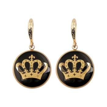 گوشواره طلا 24 عیار زنانه الون طرح تاج ملکه