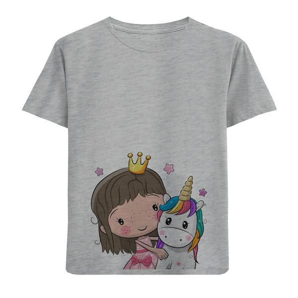 تی شرت آستین کوتاه دخترانه طرح پرنسس و تک شاخ کد F35