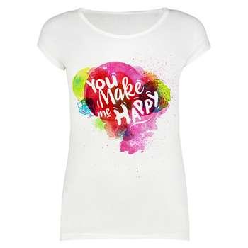 تیشرت زنانه طرح you make me happy کد 1000045