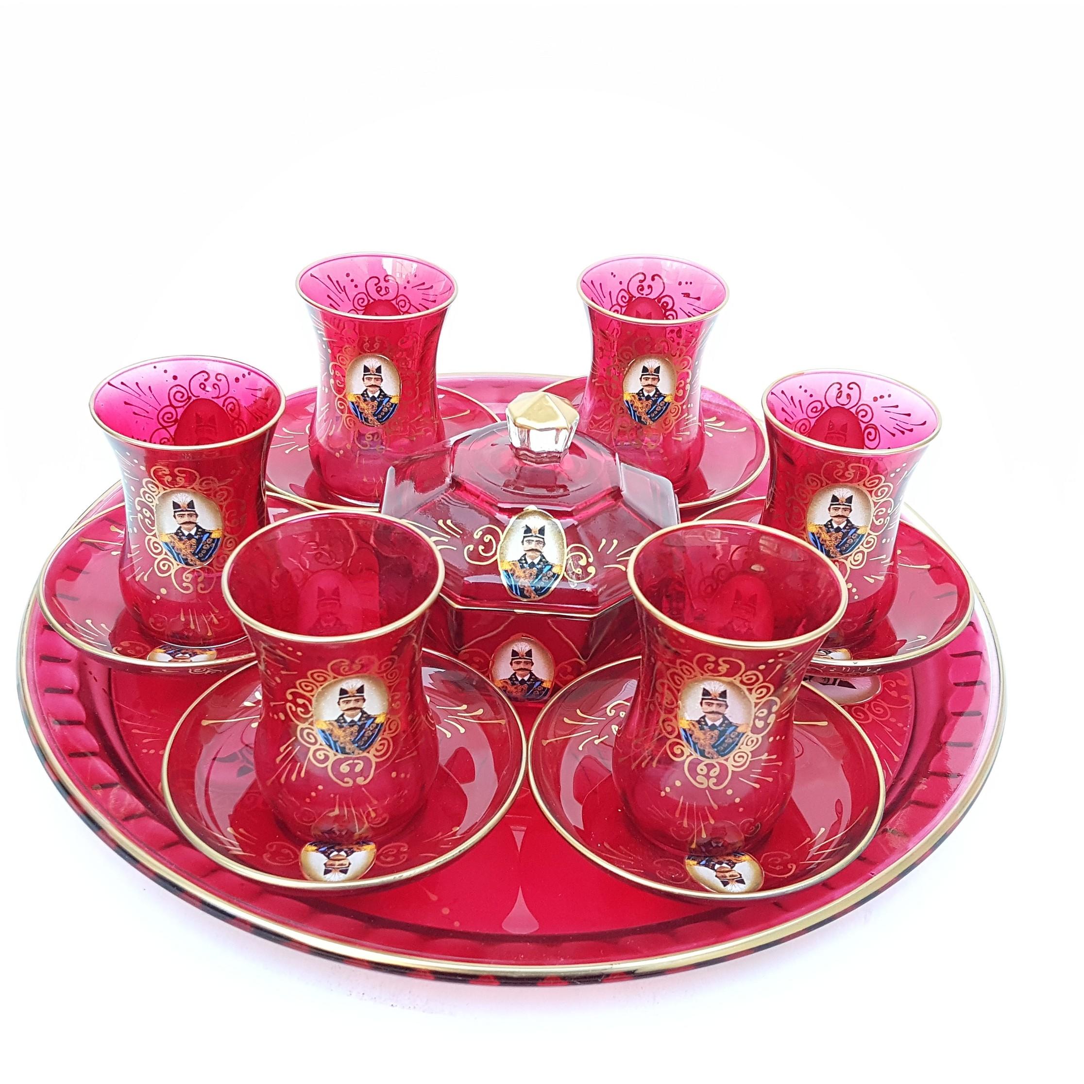 سرویس چای خوری 15 پارچه طرح شاه عباسی