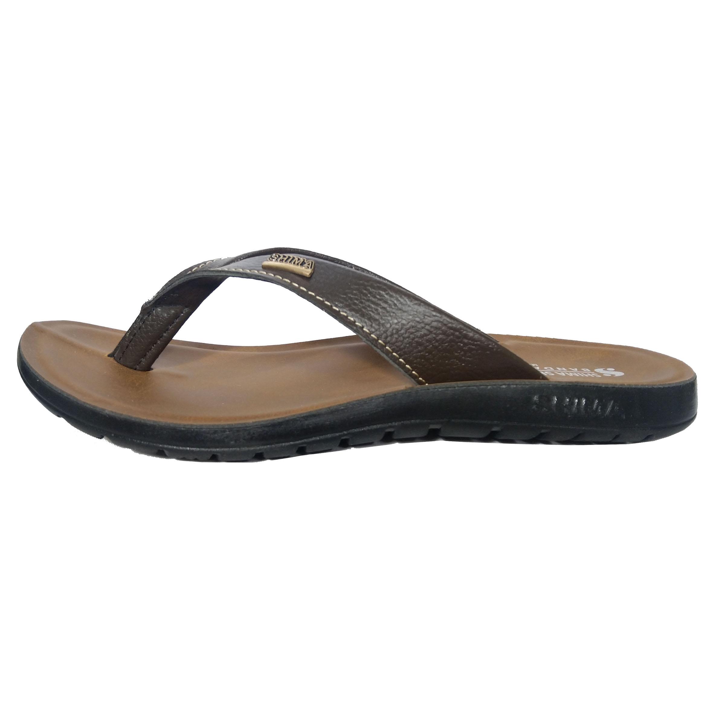 دمپایی لا انگشتی مردانه کفش شیما مدل بندری کد 04 رنگ قهوه  ای