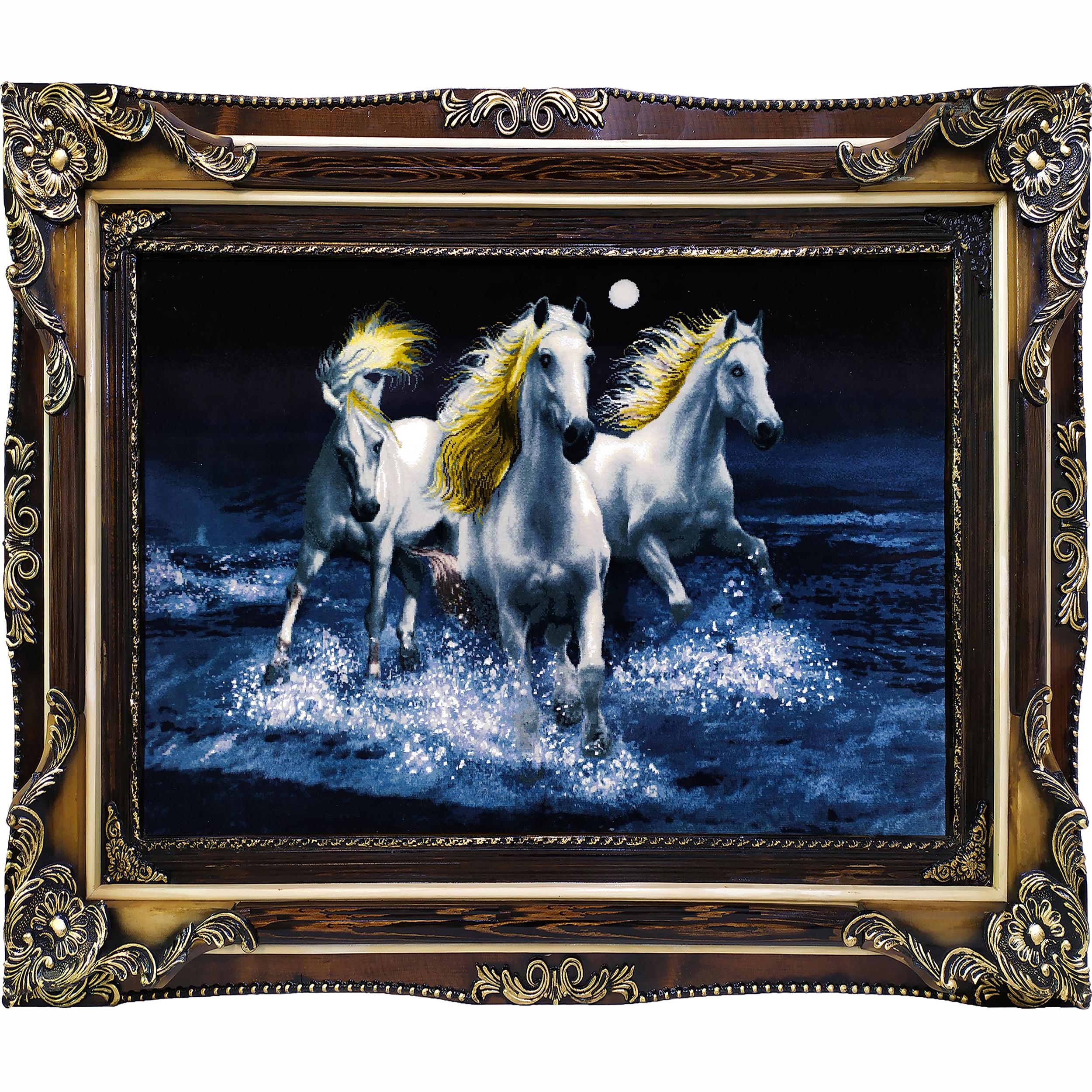 تابلو فرش دستبافت طرح گله اسب کد 1341