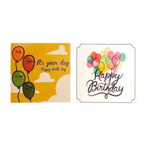 کارت پستال چاپ آقا طرح تولد بادکنکی مدل 01 مجموعه 2عددی