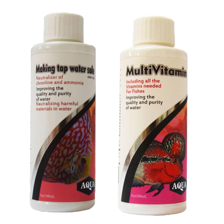محلول محافظ آب آکواریوم آکوا حجم 100 میلی لیتر به همراه مولتی ویتامین