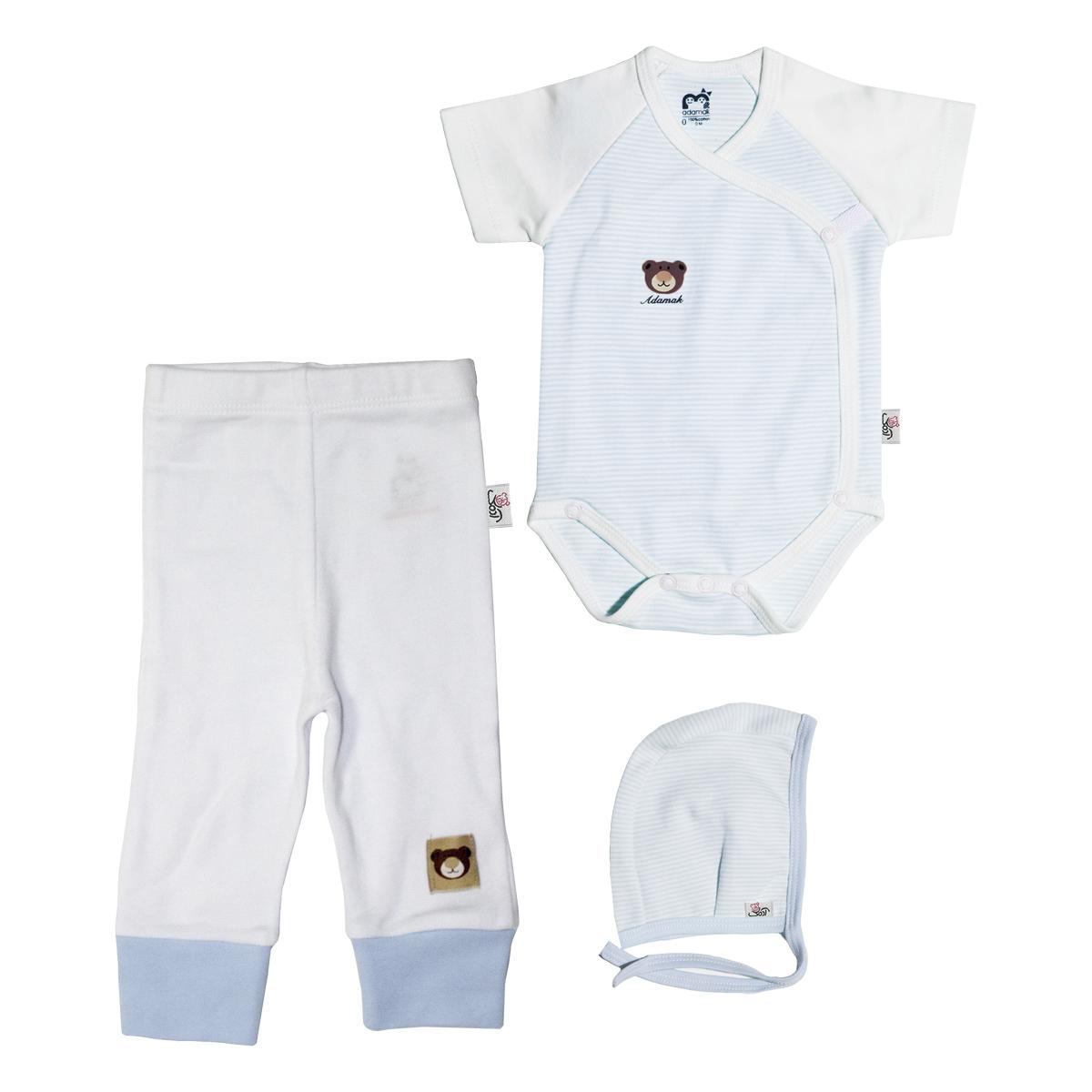 ست 3 تکه لباس نوزاد آدمک طرح راه راه کد 0-152115 رنگ آبی
