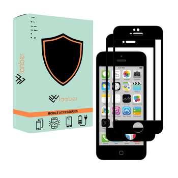 محافظ صفحه نمایش لمبر مدل LAMBFULL-1 مناسب برای گوشی موبایل اپل Iphone 5/5s/SE بسته دو عددی