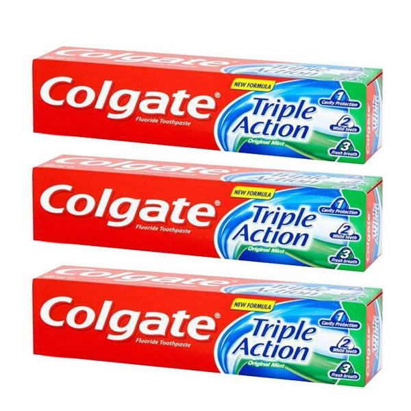 خمیر دندان کلگیت سری original mint مدل triple action حجم 50 میلی لیتر مجموعه 3 عددی