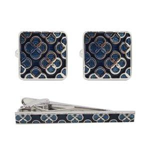 ست دکمه سردست و گیره کراوات مردانه زرکات مدل ZF