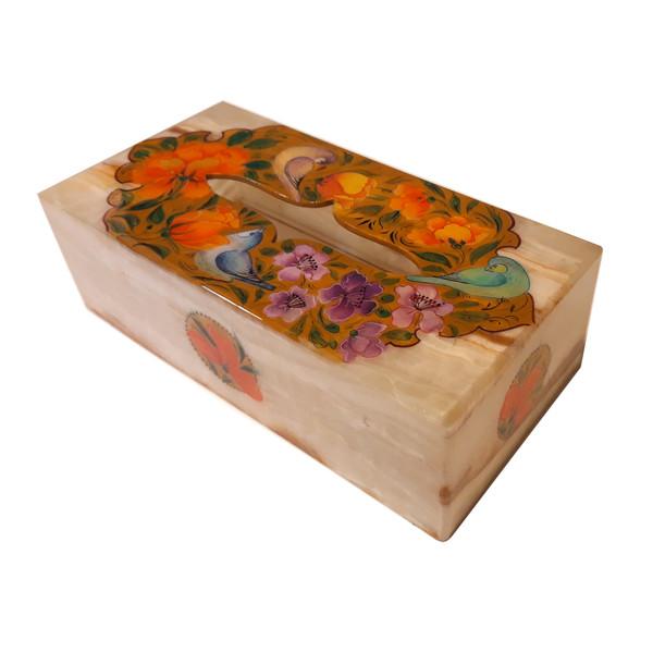 جعبه دستمال کاغذی سنگ مرمر طرح گل و مرغ کد 302210