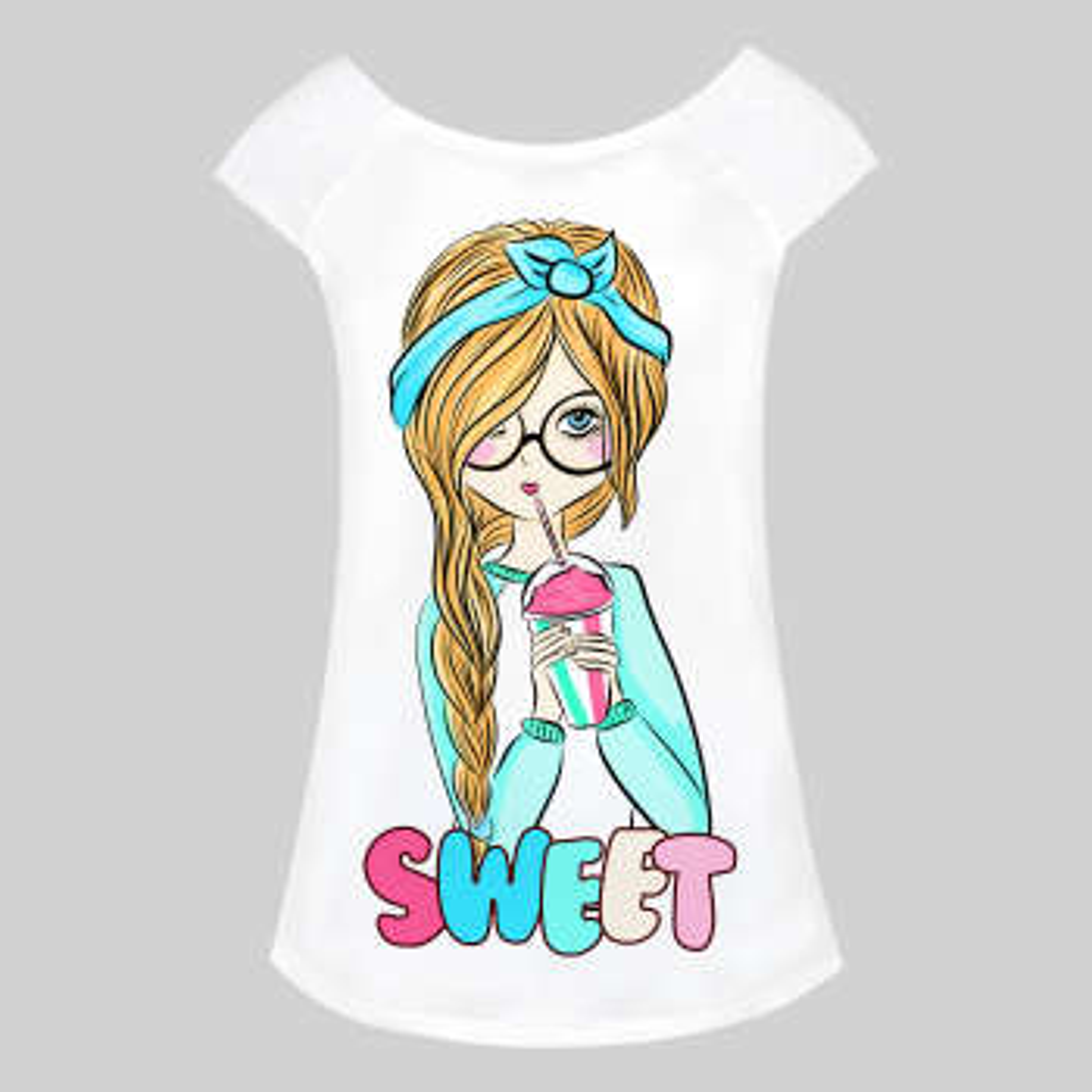 تاپ زنانه طرح Sweet Girl کد 1000036