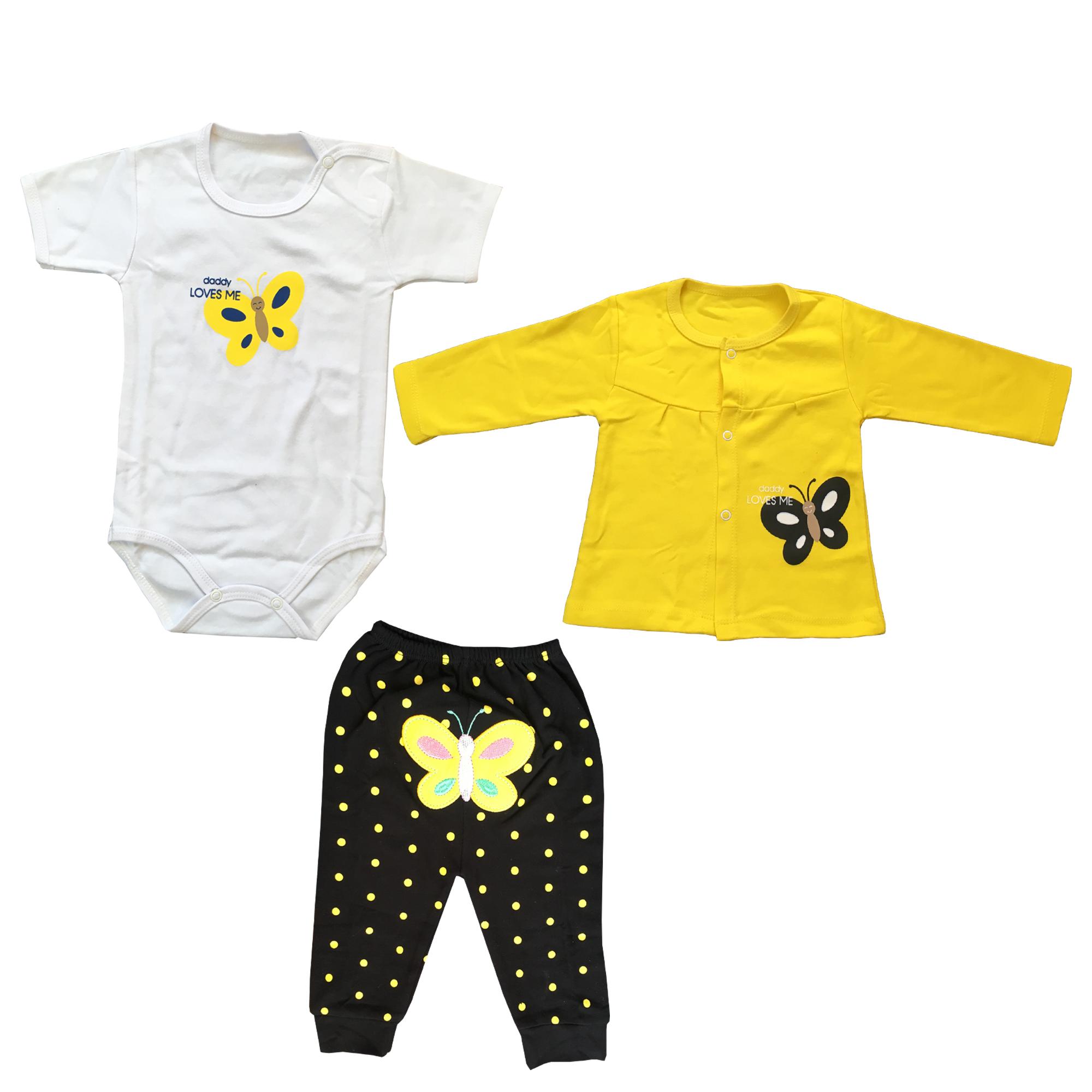 ست ۳ تکه لباس نوزادی دخترانه مدل butterfly