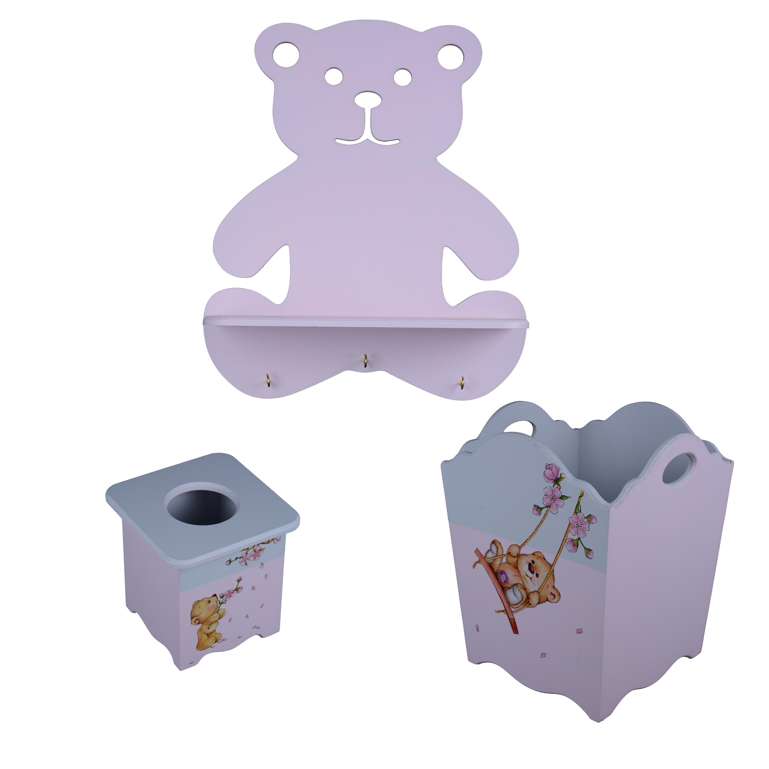 خرید                     سیسمونی اتاق کودک مدل خرس دخترانه مجموعه 3 عددی