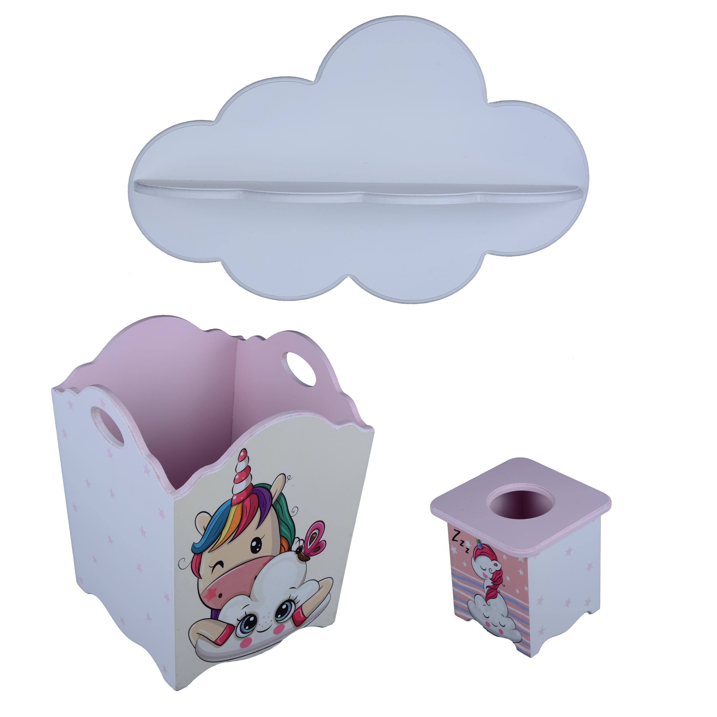 خرید                     سیسمونی اتاق کودک مدل ابر دخترانه مجموعه 3 عددی