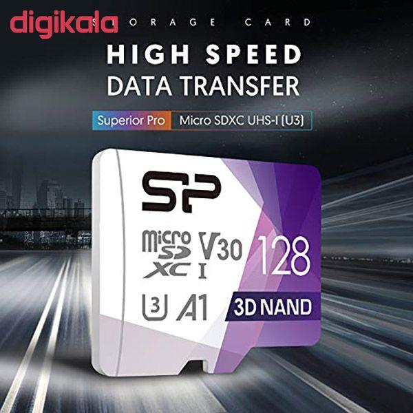 کارت حافظه microSDXC سیلیکون پاور مدل Superior Pro کلاس 10 استاندارد UHS-I U3 سرعت 100MBps ظرفیت 128 گیگابایت به همراه آداپتور SD main 1 4
