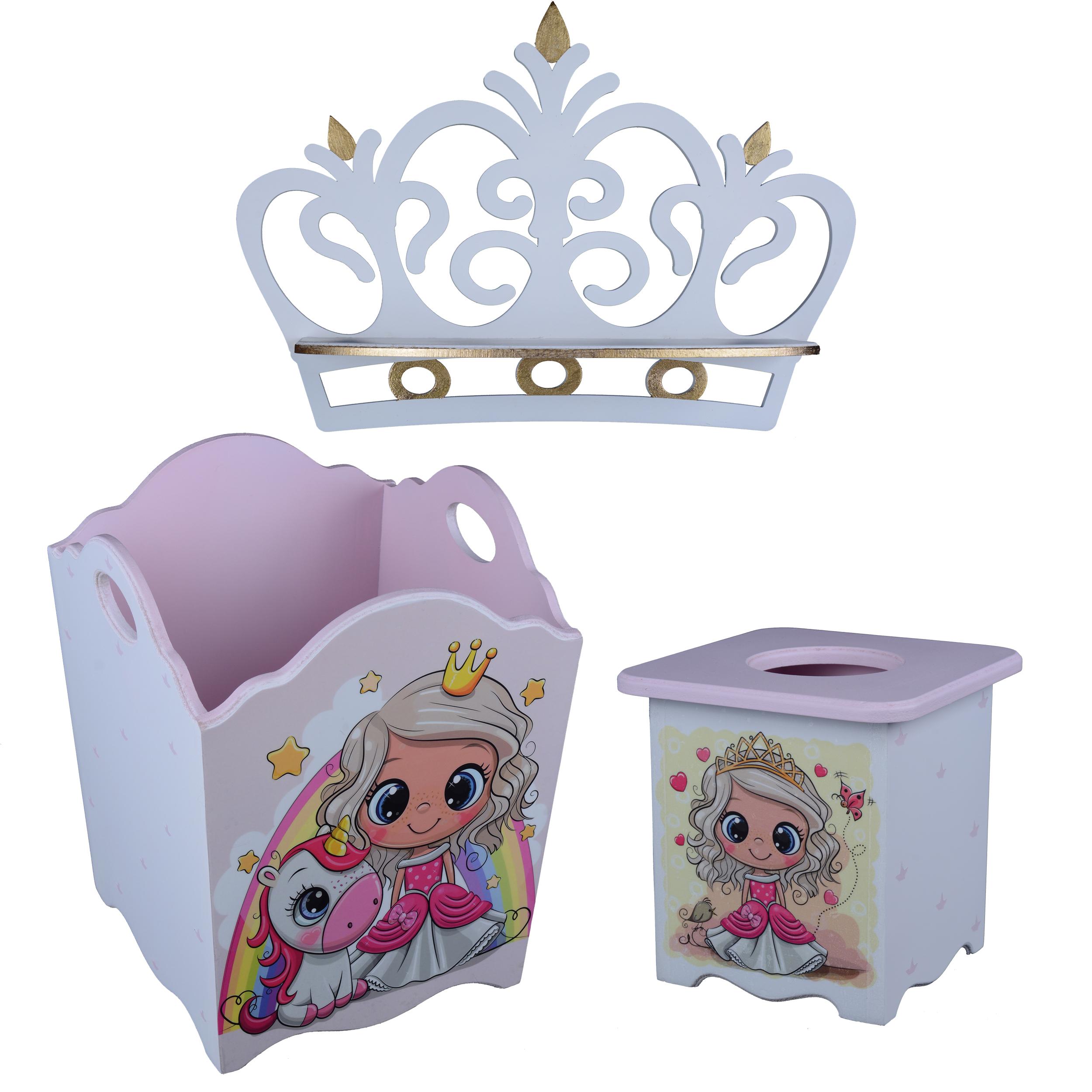 خرید                     سیسمونی اتاق کودک مدل تاج دخترانه مجموعه 3 عددی