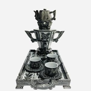 سرویس چای خوری سنگی 9 پارچه طرح قاجار کد SFG01