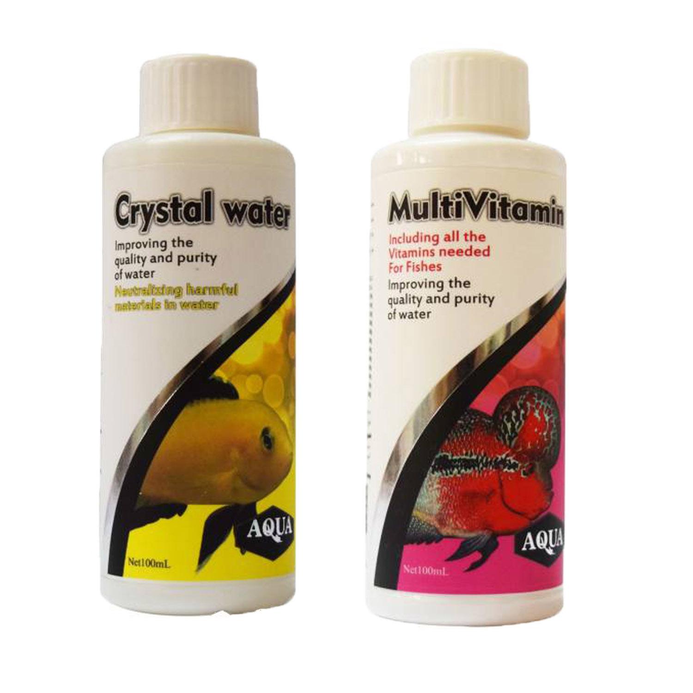 محلول شفاف کننده آب آکواریوم آکوا مدل MM100 حجم 100 میلی لیتر به همراه محلول مولتی ویتامین