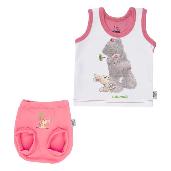 ست تاپ و شورت نوزادی دخترانه آدمک طرح خرس رنگ گلبهی