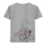 تی شرت آستین کوتاه دخترانه طرح دوچرخه و ایفل کد F57