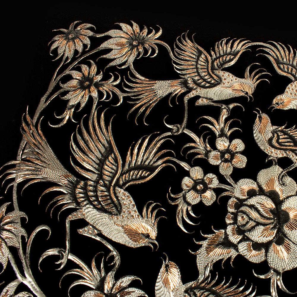 خرید                      تابلو قلمزنی طرح گل و مرغ کد 3060-4
