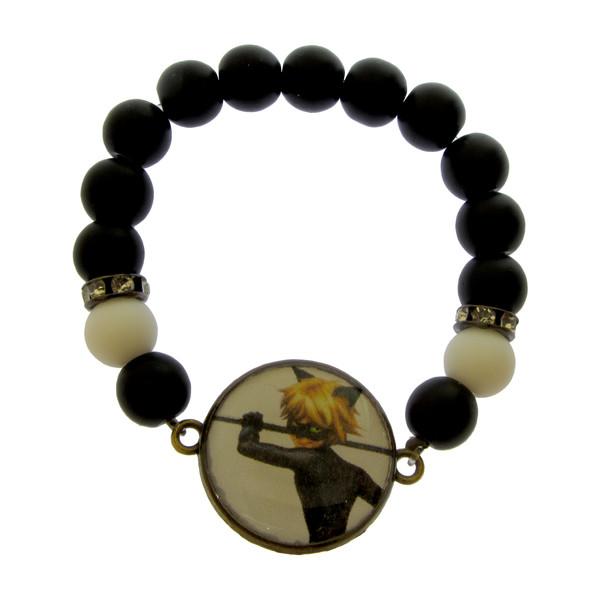 دستبند دخترانه طرح گربه سیاه کد 069