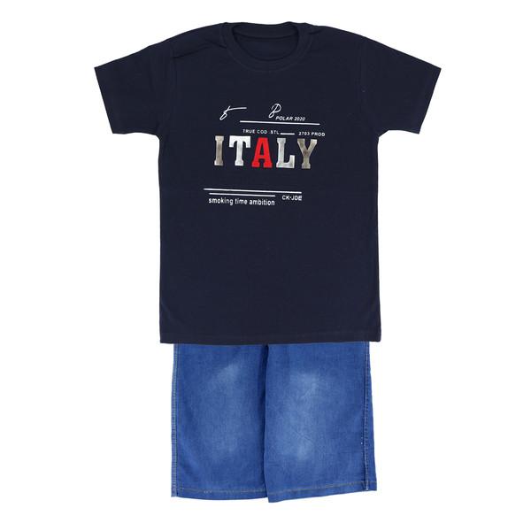 ست تی شرت و شلوارک پسرانه طرح italy کد 01-125