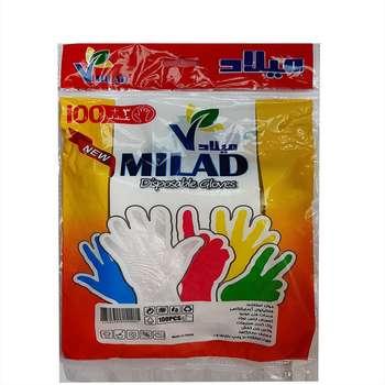 دستکش یکبار مصرف میلاد کد 002 بسته 100 عددی