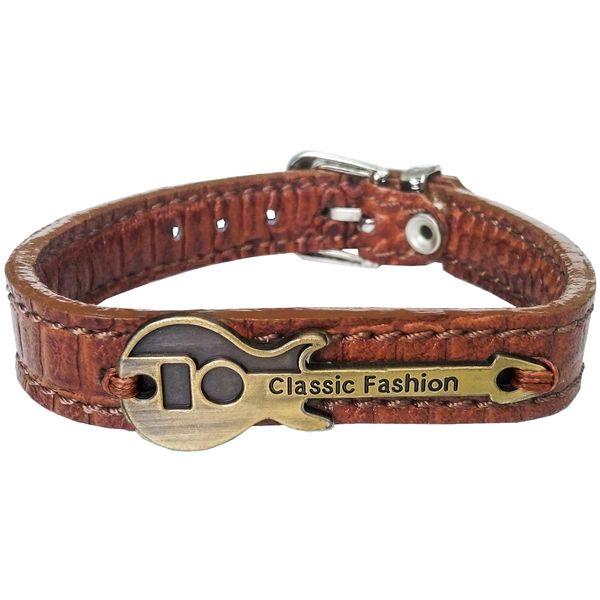 دستبند چرم وارک طرح گیتار مدل رادمان کد rb143