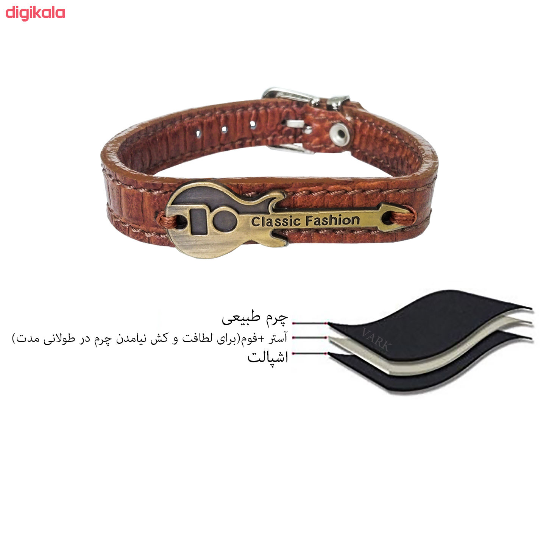 دستبند چرم وارک طرح گیتار مدل رادمان کد rb143 main 1 6