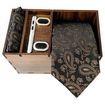 ست کراوات و دستمال جیب و دکمه سر دست مردانه کد 422