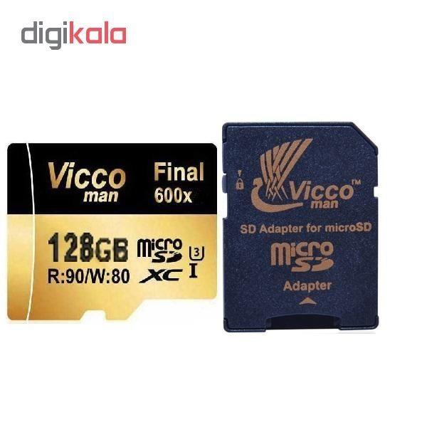 کارت حافظه microSDHC ویکو من مدل Final 600x کلاس 10 استاندارد UHS-I U3 سرعت 90MBps ظرفیت 128 گیگابایت همراه با آداپتور SD main 1 1