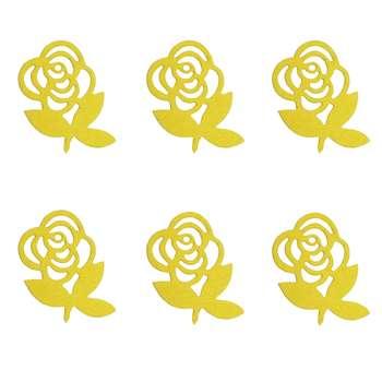 الگو نمد طرح گل رز مدل ONRoseY06 بسته 6 عددی