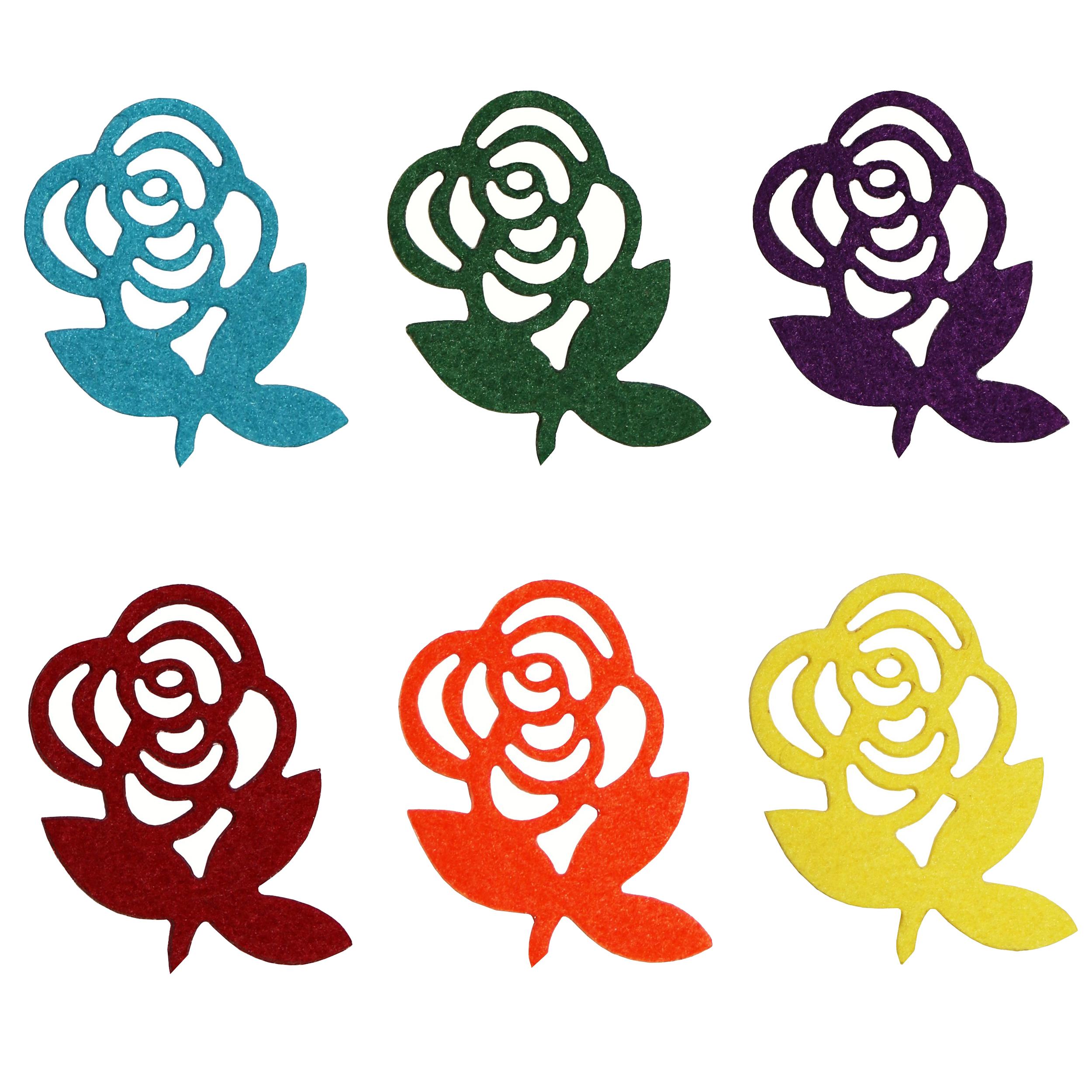 الگو نمد طرح گل رز مدل ONRose06 بسته 6 عددی