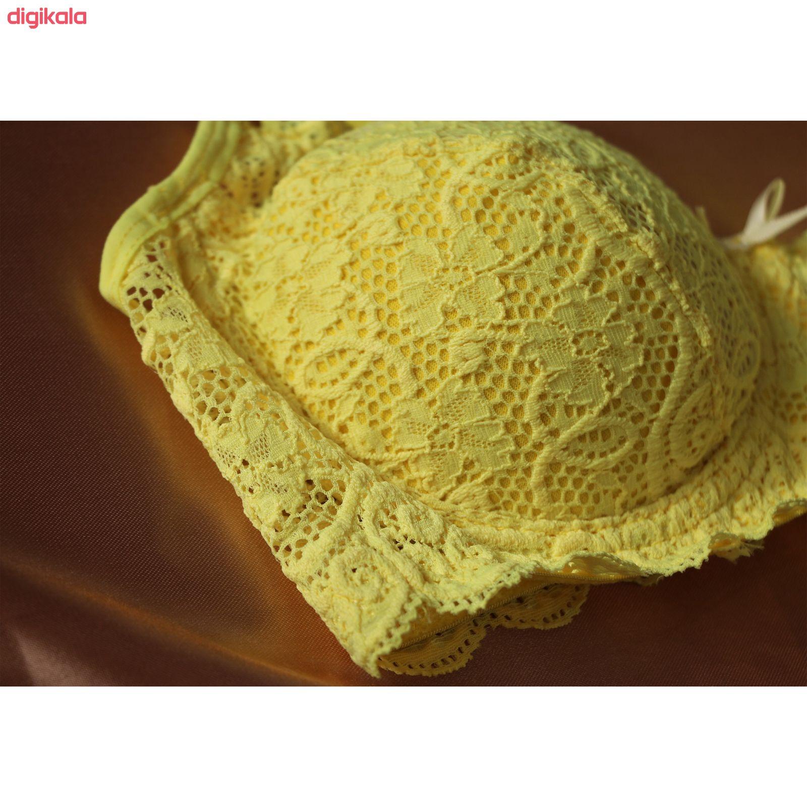 سوتین زنانه مدل لیدا رنگ زرد فسفری main 1 5