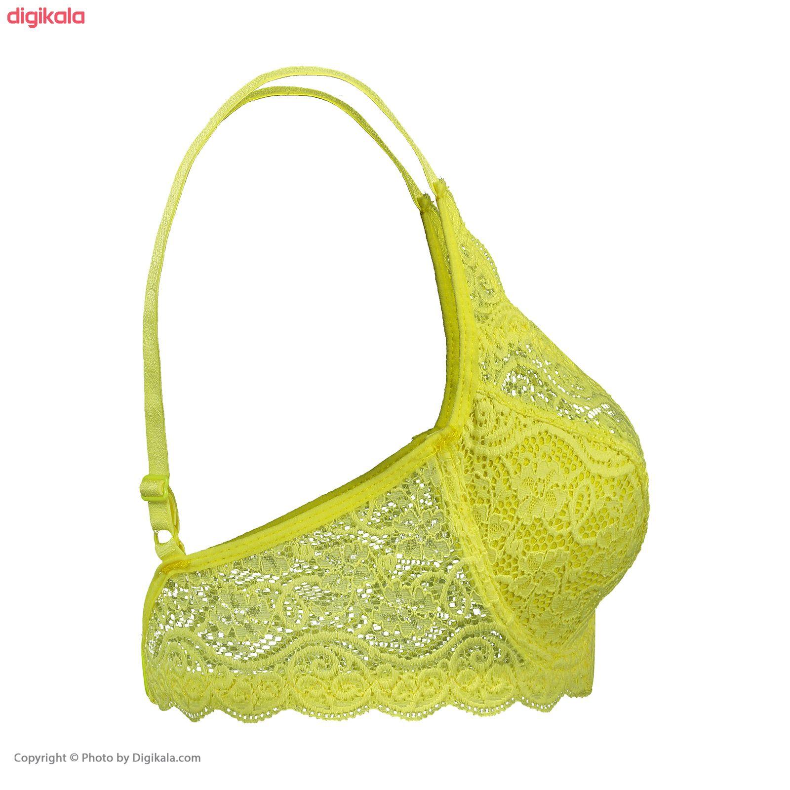 سوتین زنانه مدل لیدا رنگ زرد فسفری main 1 2
