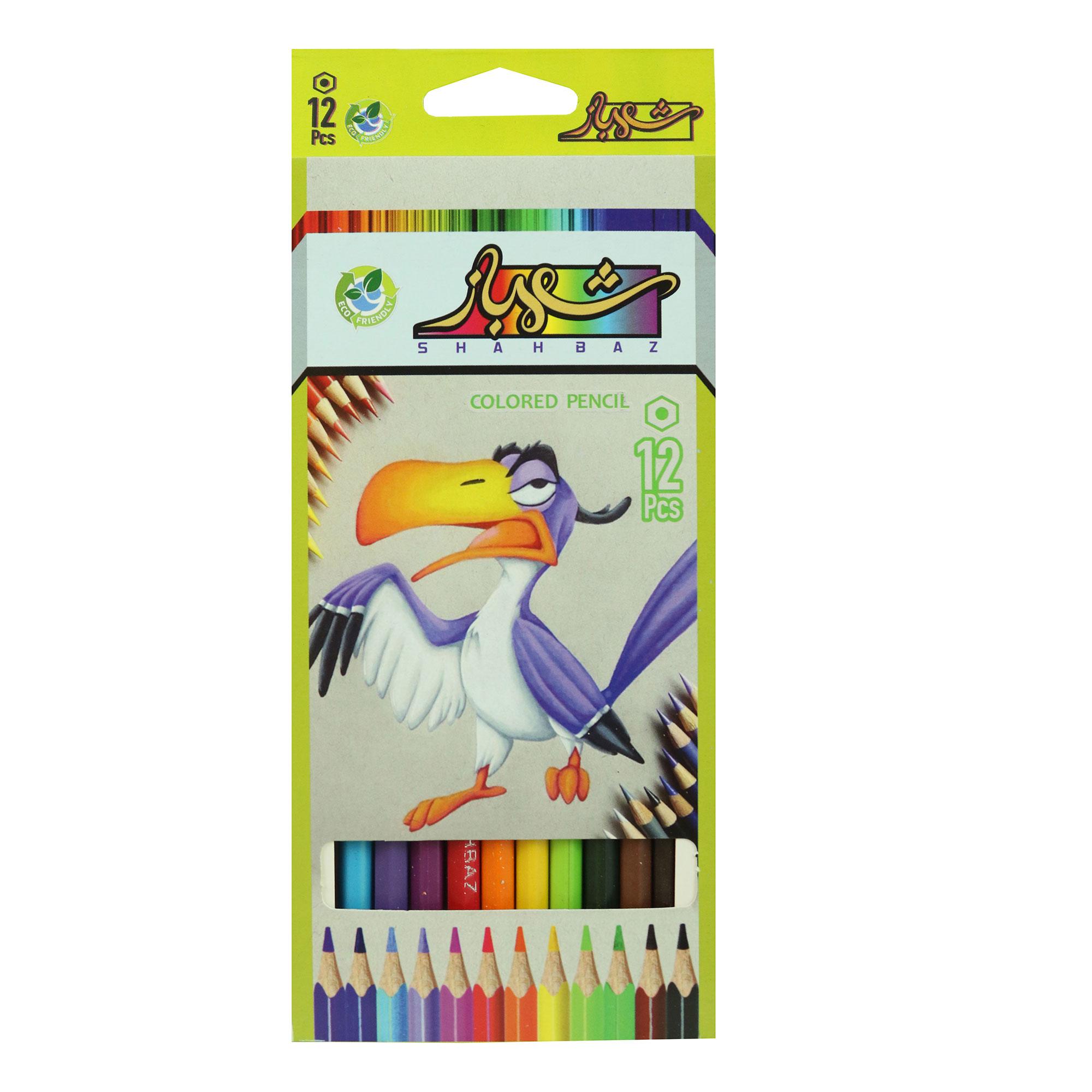 مداد رنگی 12 رنگ شهباز کد Bird12