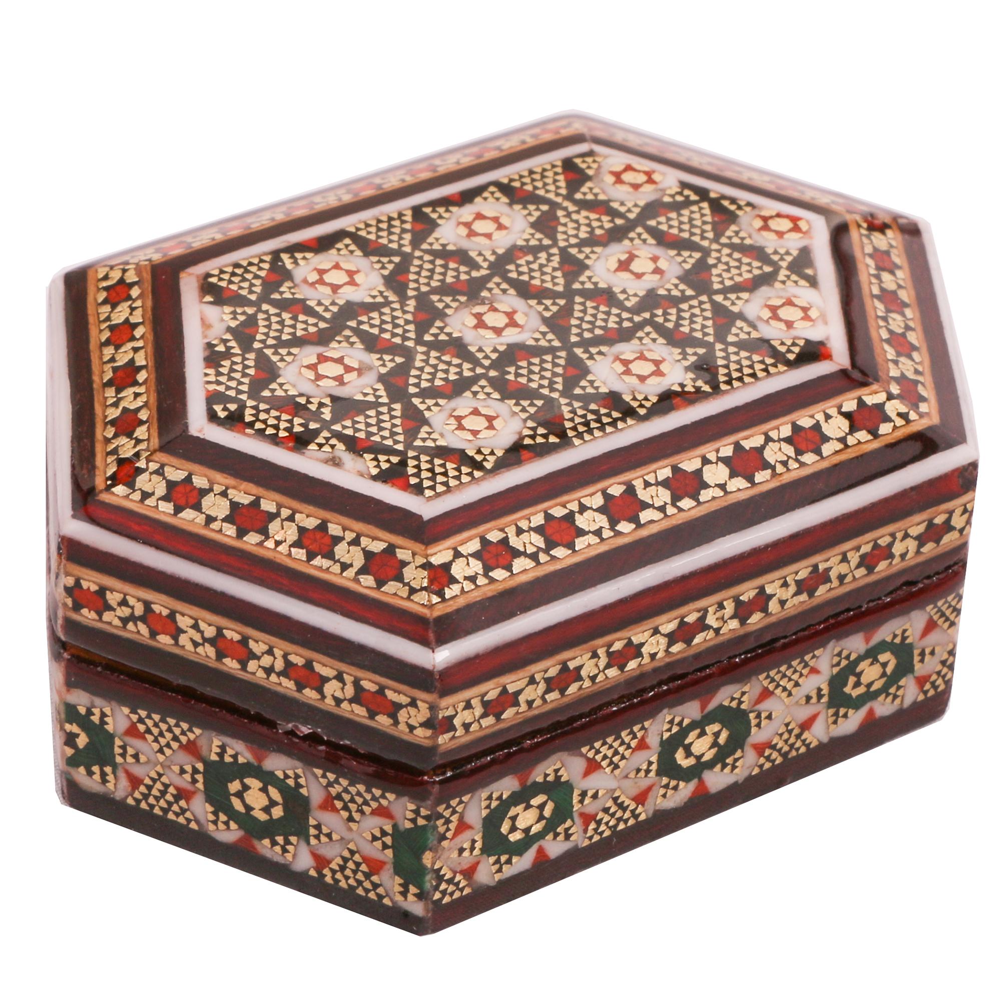 خرید                      جعبه جواهرات خاتم کاری کد 889