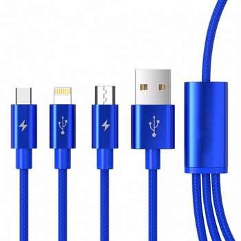 کابل تبدیل USB به microUSB / لایتنینگ / USB-C سمگپرس مدل S85 طول 1.2 متر