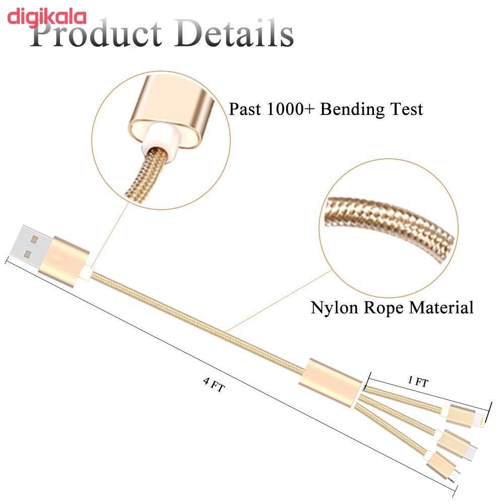 کابل تبدیل USB به microUSB / لایتنینگ / USB-C سمگپرس مدل S85 طول 1.2 متر main 1 2