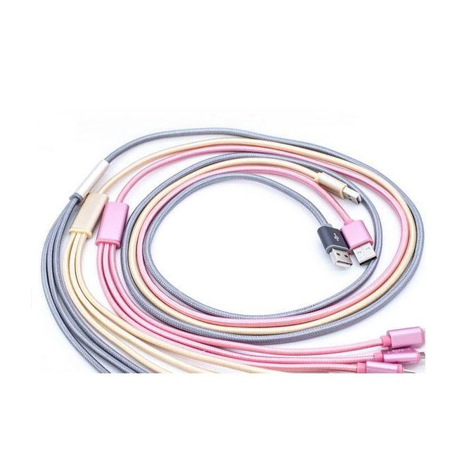 کابل تبدیل USB به microUSB / لایتنینگ / USB-C سمگپرس مدل S85 طول 1.2 متر main 1 5