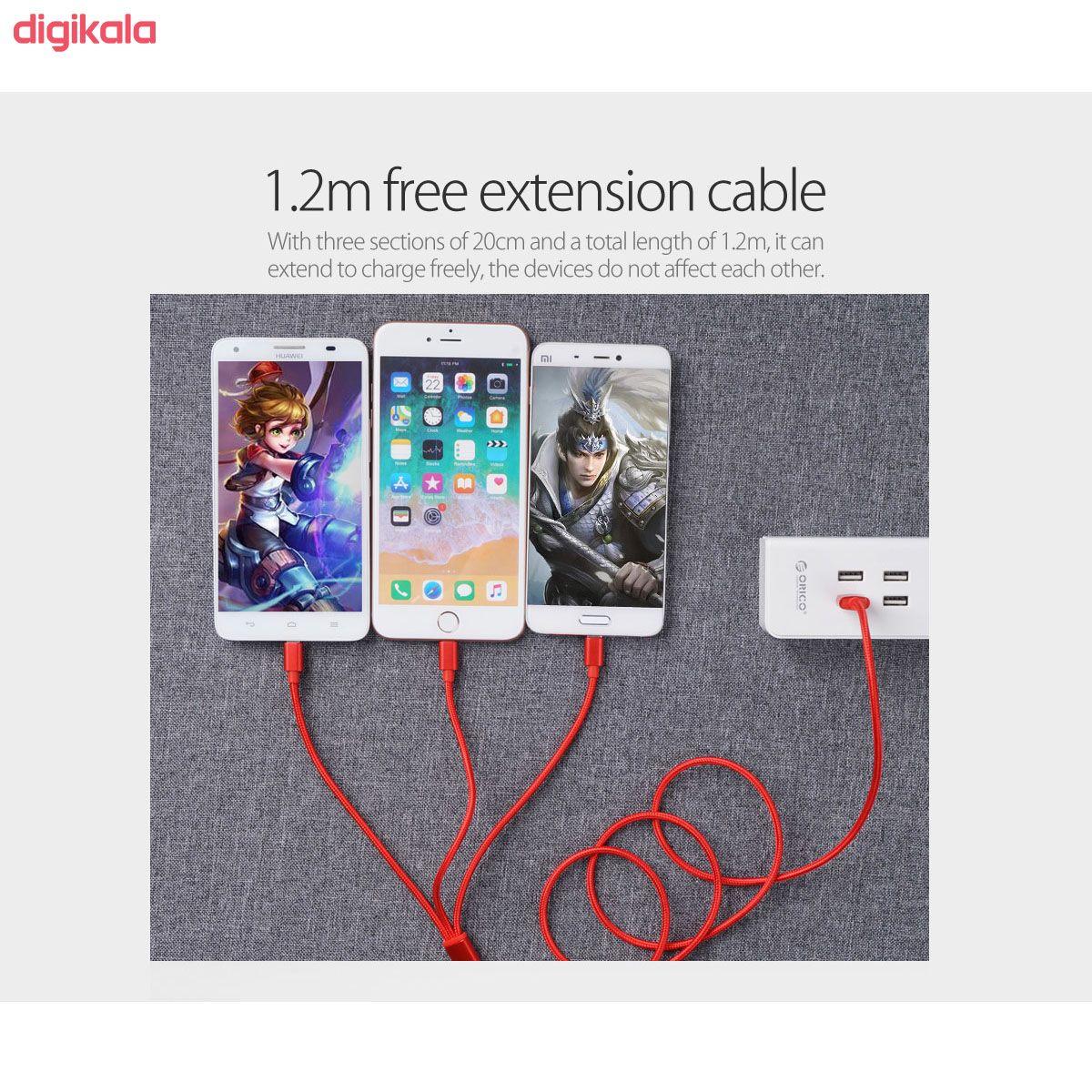 کابل تبدیل USB به microUSB / لایتنینگ / USB-C سمگپرس مدل S85 طول 1.2 متر main 1 8