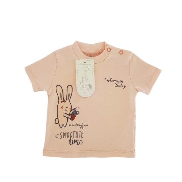 تی شرت آستین کوتاه نوزادی دخترانه پولونیکس طرح اسموتی کد 017