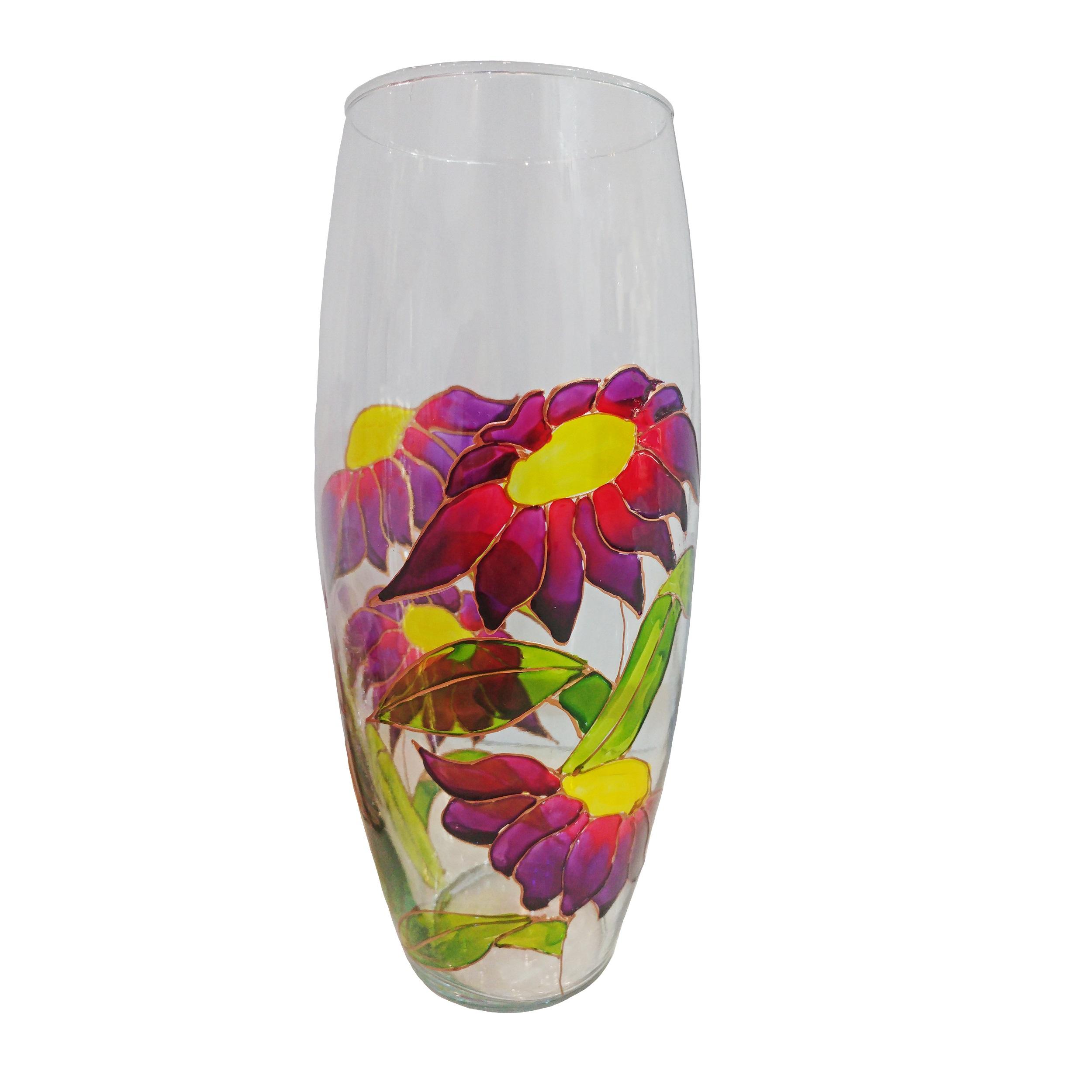 خرید                      گلدان شیشه ای طرح گل کد 07