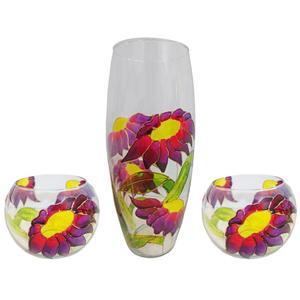 ست سه تکه گلدان و جاشمعی شیشه ای طرح گل کد 07