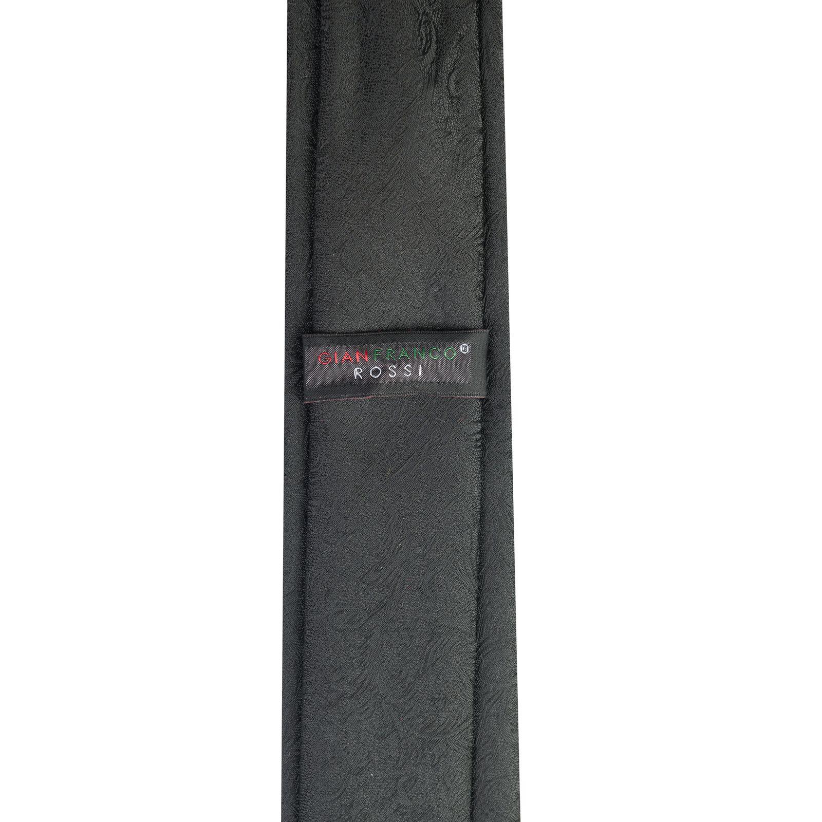 ست کراوات و دستمال جیب و گل کت مردانه جیان فرانکو روسی مدل GF-F224-BK -  - 5