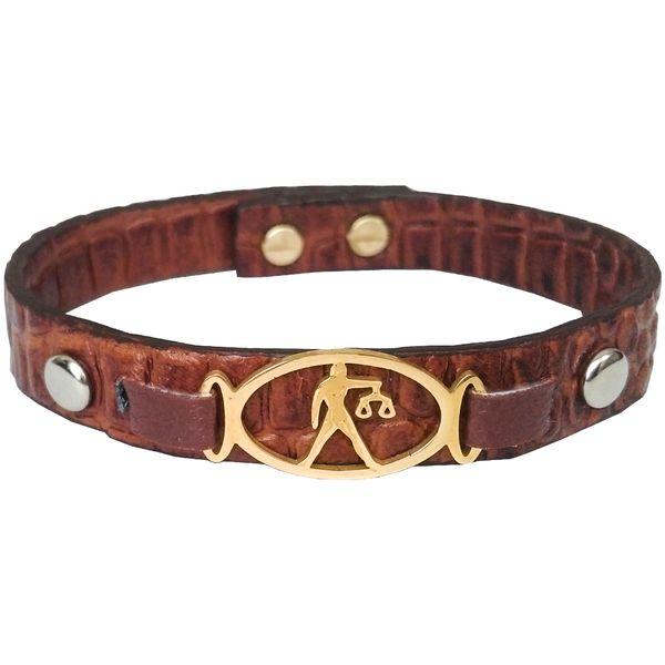 دستبند چرم وارک طرح ماه تولد مهر مدل فرانک کد rb153