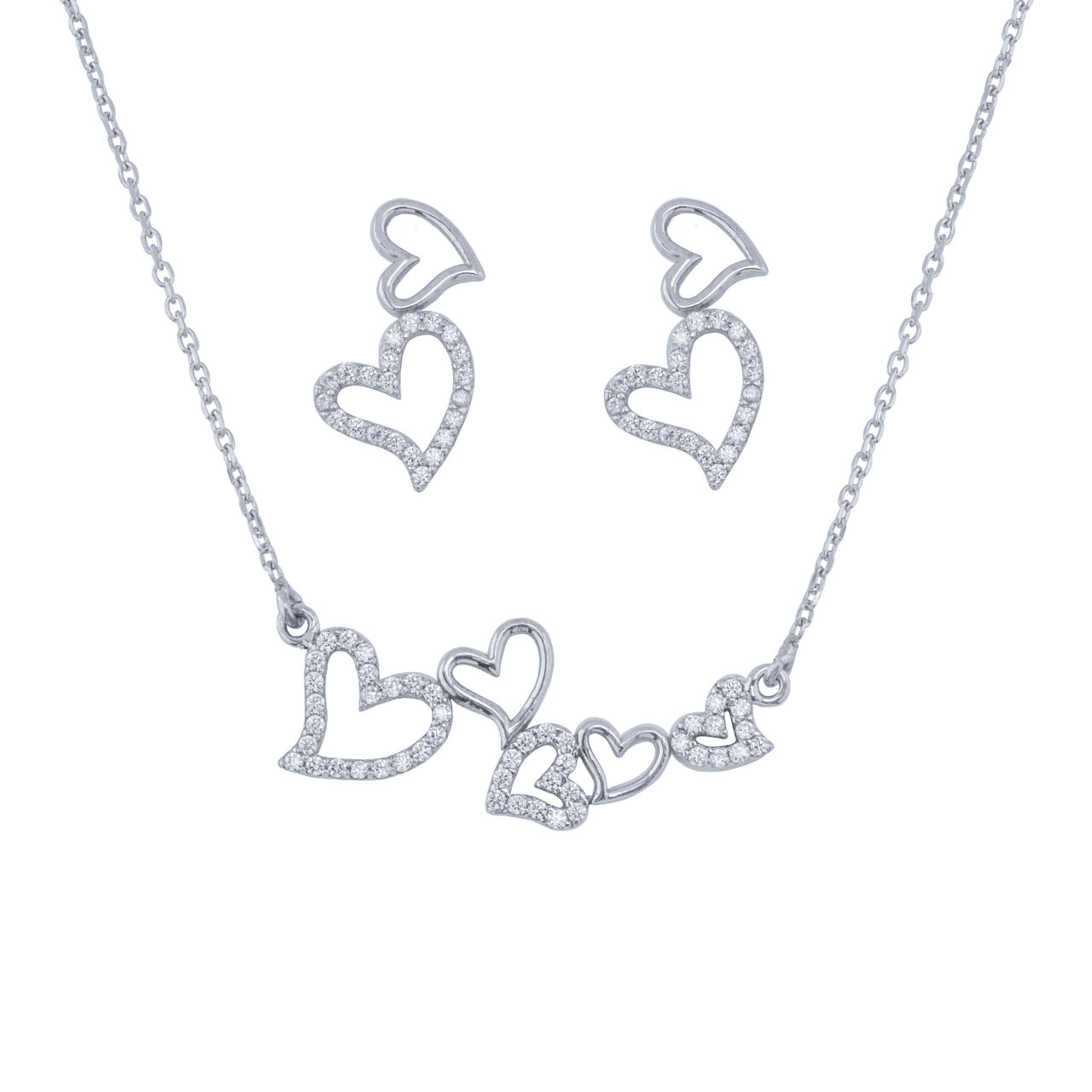 نیم ست نقره زنانه طرح قلب مدل عاشقان کد DS313