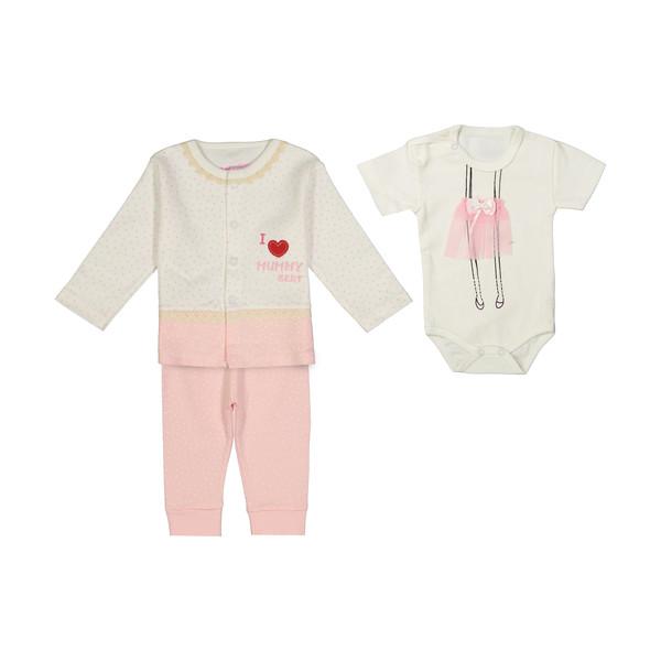 ست 3 تکه لباس نوزادی دخترانه بی بی وان کد 100