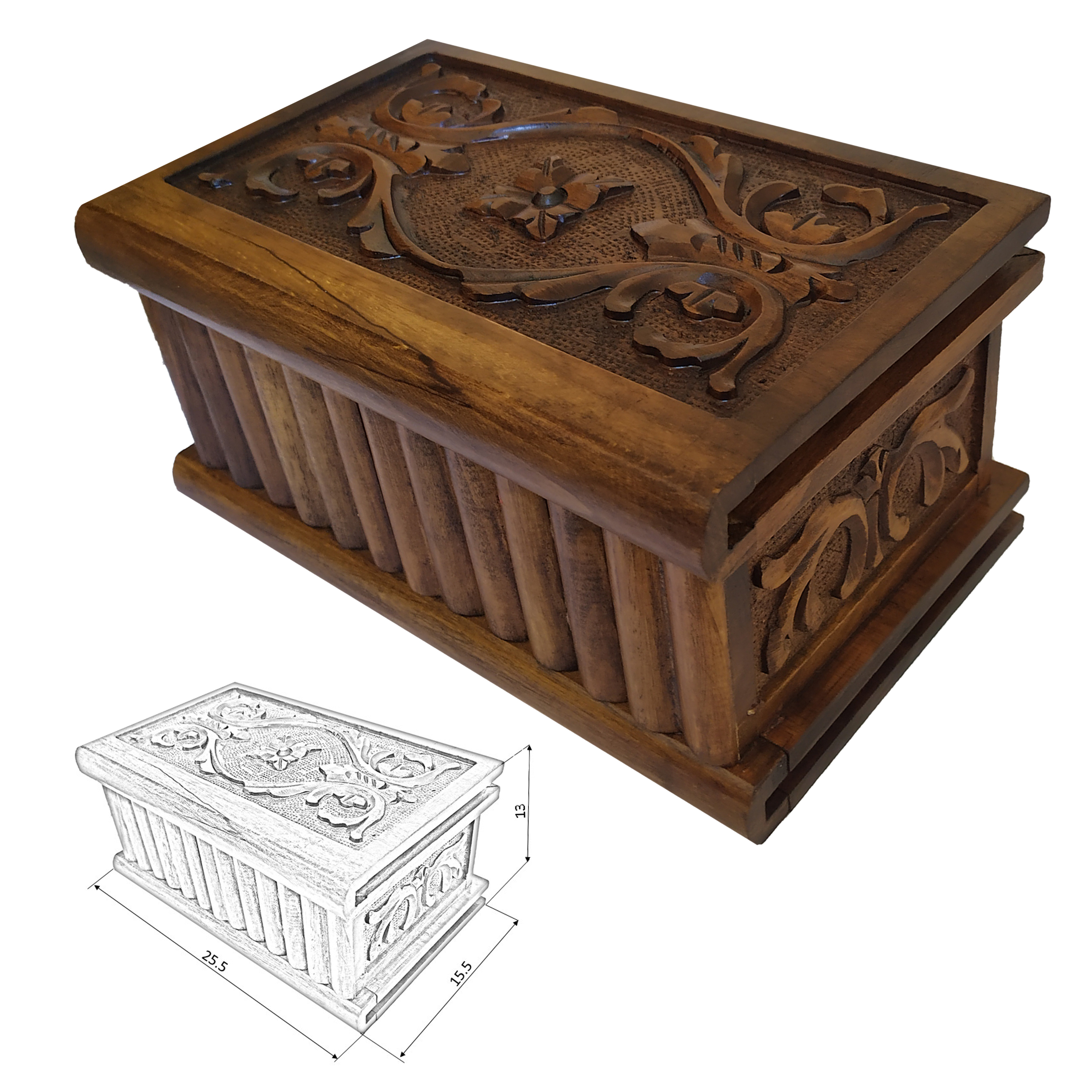 handmade wood carving box, G1 model