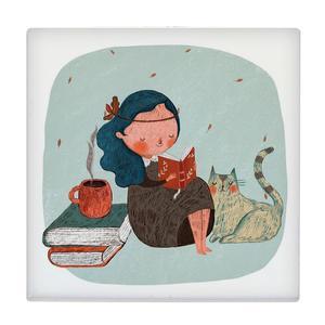 کاشی طرح دختر کتابخوان و گربه کد wk338